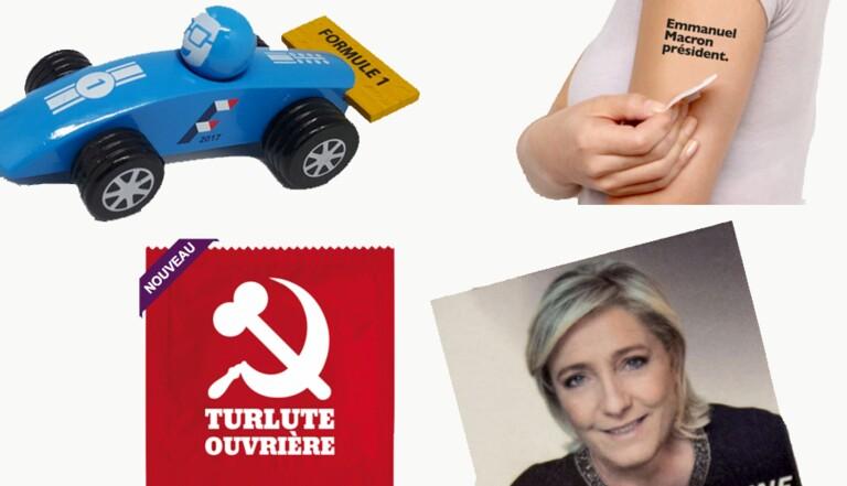 Capotes, voiturettes, tatoo : les goodies WTF de la présidentielle