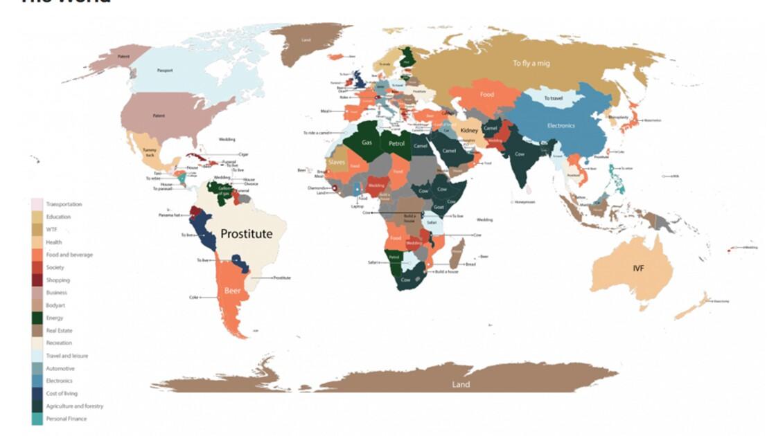 La carte Google des produits dont on recherche le plus le prix