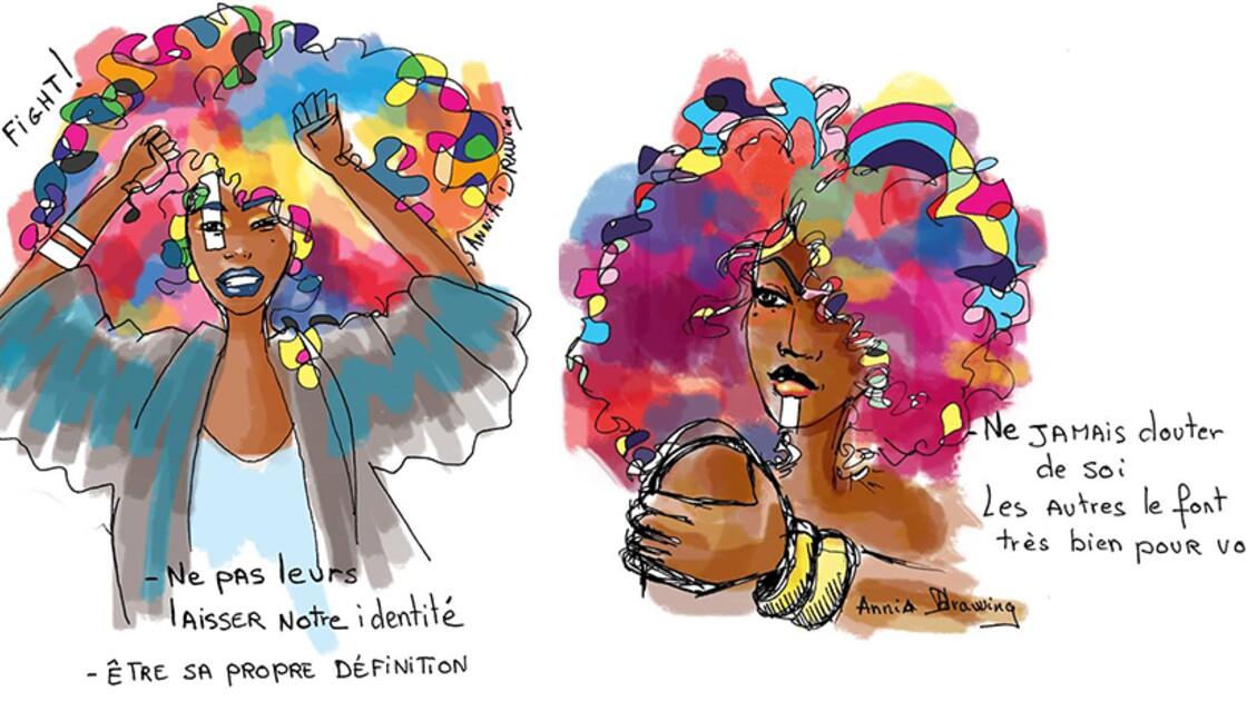 Des oeuvres afro-féministes qui rendent honneur à la culture noire et au nappy coloré