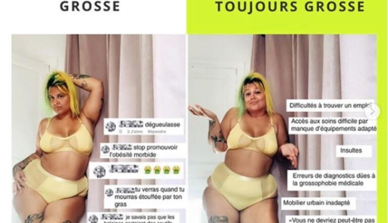 Instagram VS réalité : une ode au body positive, tant que vous n'êtes pas grosse, dénonce l'instagrammeuse @metauxlourd